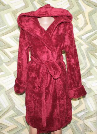 Турция женский махровый халат на запах с капюшоном укороченный