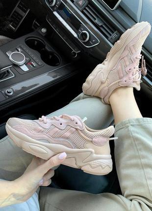 Розовые женские кроссовки! adidas ozweego white! адидас озвиго...