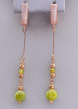 Серьги женские длинные позолоченные с натуральным камнем жадеи...