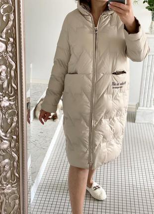 Пуховое пальто пуховик пух белой утки 100%