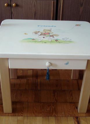 Детский столик со стульями с ручной росписью (массив ясеня)