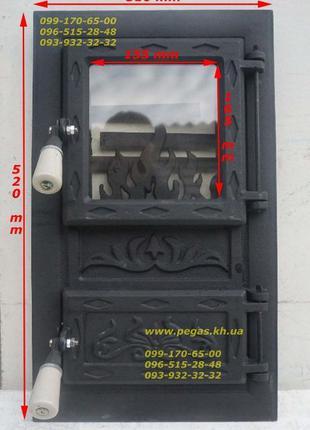 Дверка чугунная печная с жаростойким стеклом (Румыния) барбекю...