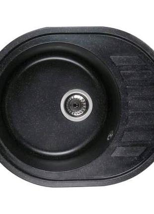 Каменная кухонная мойка Ventolux MONICA (SPACE BLACK) 620x500x200