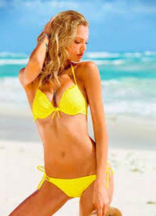 Желтый кружевной купальник в стиле victoria´s secret с большим...