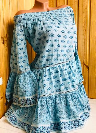 Летнее обалденное платье в стиле бохо цвета морской лазури ind...