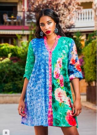 Сочный стиль бохо цветастая платье-туника из батиста с вышивкой