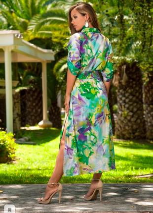 Длинное летнее цветастое платье- рубашка халат индиано