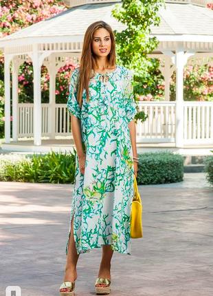 Длинная летняя пляжная платье-туника их хлопка индиано