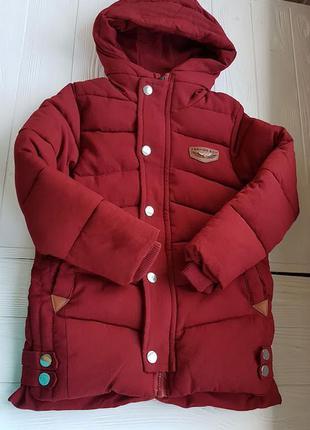 Теплая длинная куртка для мальчика на синтепоне осень-зима бардо