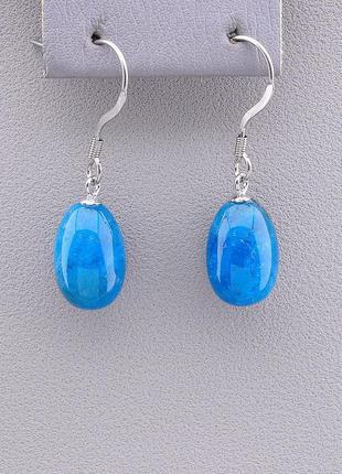 Серьги с апатитом женские натуральные камни голубые
