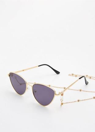 Солнцезащитные очки кошечки на цепочке новые в чехле