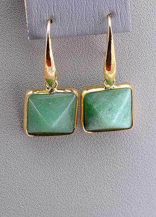 Серьги женские с натуральным зелёным камнем нефрит