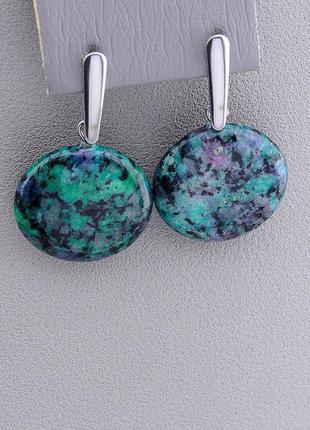 Серьги женские оригинальные с натуральным камнем цоизит бренд ...
