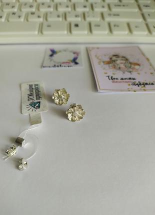 Милые серьги, гвоздики, стерлинговое серебро 925