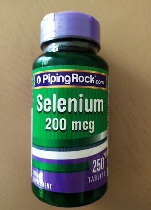 Витамин Селен Selenium, Piping Rock, 200 мкг США.
