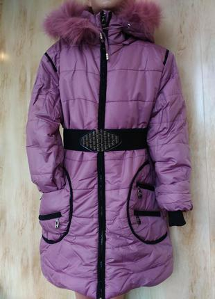 Зимняя куртка пальто на девочку 140,146,150,155,160 рост