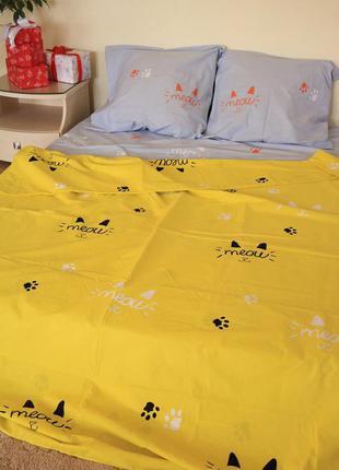 Постельное полуторное белье коты мяу