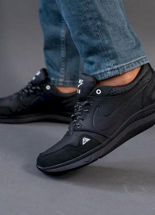 Мужские кожаные кроссовки  черные кроссовки мужские