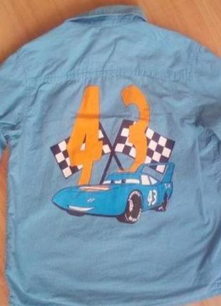Рубашка сорочка детская тачки на 7-8 лет