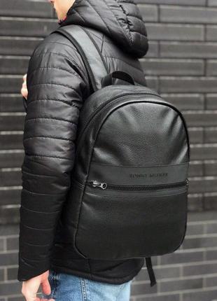 Кожаный рюкзак tommy hilfiger черный сумка томми хилфигер унисекс