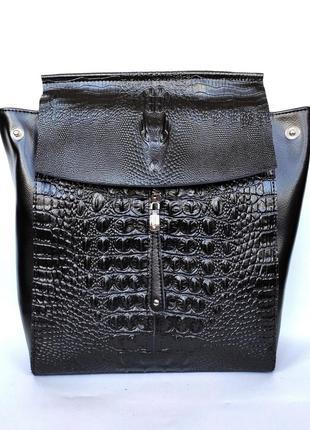 """Женский кожаный рюкзак """"steel crocodile"""" черный"""