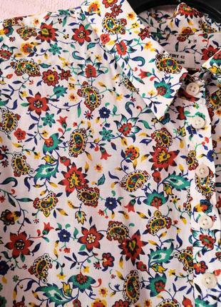 Белая рубашка с цветочным принтом, винтаж, ретро