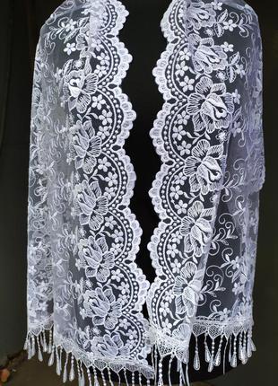 Ажурный праздничный шарф белый фатиновый