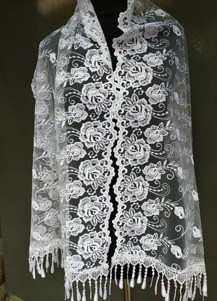 Нарядный ажурный праздничный белый шарф