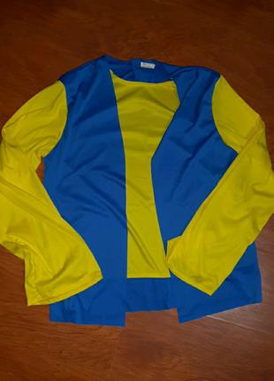 Лонгслив кофта желто-голубая