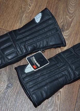 Кожаные перчатки (краги) утеплитель thinsulate. новые (m)