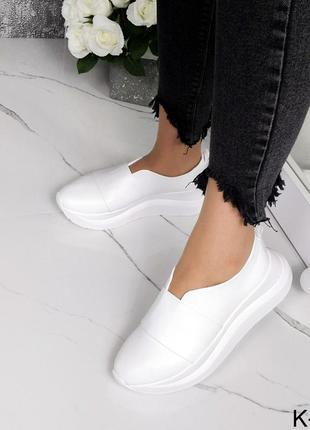 Новые женские кожаные белые туфли слипоны