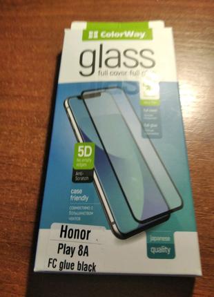 Защитное стекло на Honor Play 8A FC glue black