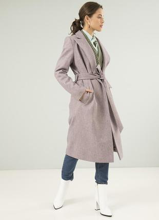 Женское осеннее пальто season диагональ светло-розового цвета