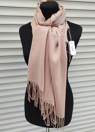 Палантин шарф с кистями беж бежевый