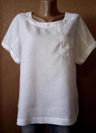 Блузка с накладным карманом 100% лён размер 16 marks & spencer