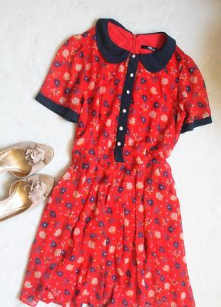 Платье красное с воротничком от jane norman, размер s