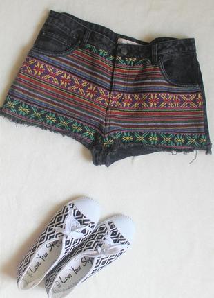 🍁шорты с вышивкой в этно-стиле, размер l-xl