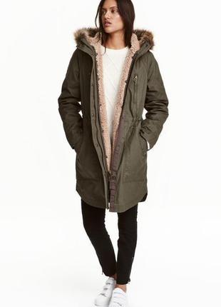 Новая парка h&m, куртка нм тёплая зимняя курточка с капюшоном