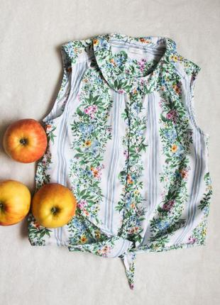 Кроп-топ рубашка с завязками от next, размер s