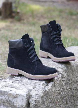Деми черный ботинки из натурального нубука!