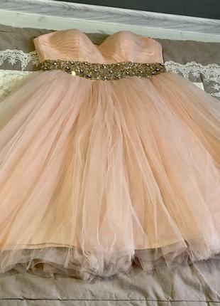 Выпускное вечернее новогоднее платье пачка фатин корсет пудра