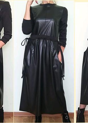 Платье оверсайз из эко-кожи.