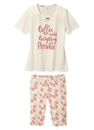 Красивая хлопковая пижама домашний костюм, футболка капри шорт...