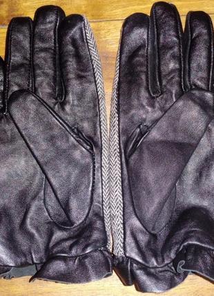 Женские перчатки кожа-текстиль