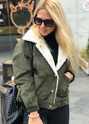 Куртка вельветовая демисезонная барашек