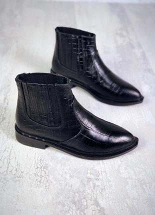 Осень 2019 натуральная кожа стильніе ботинки челси под кожу пи...