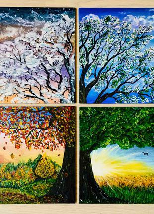 "Модульная картина (4 части) Гуашь Живопись ""Дерево жизни""  2 500"