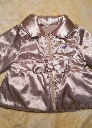 Атласная куртка курточка на флисе демисезонная осенняя 68 74