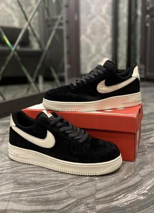Кроссовки  nike air force luxury suede black