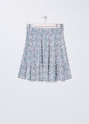 Новая тонкая короткая бирюзовая юбка розовые цветы узор мини-ю...